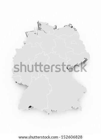 map germany gray with state borders on white isolated  - stock photo