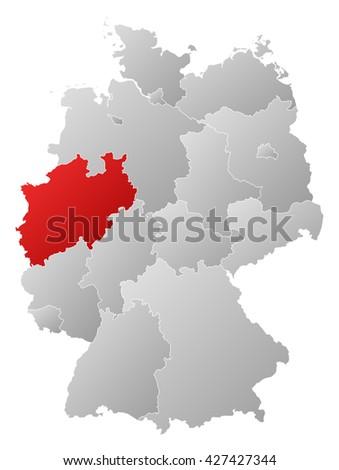 Map - Germany, North Rhine-Westphalia - stock photo