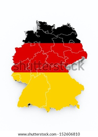 map germany with flag on white isolated  - stock photo