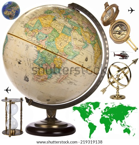 Map, Globe and travel objects for cutout - stock photo