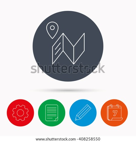 Map icon. GPS navigation with pin sign. Calendar, cogwheel, document file and pencil icons. - stock photo