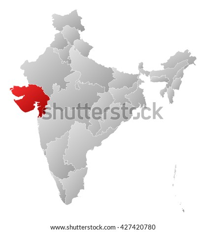 Map - India, Gujarat - stock photo