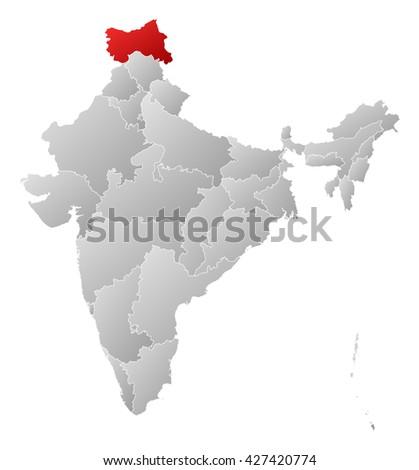 Map - India, Jammu and Kashmir - stock photo