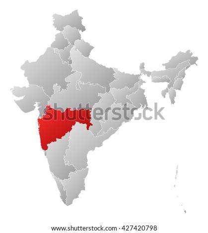 Map - India, Maharashtra - stock photo