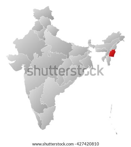 Map - India, Manipur - stock photo