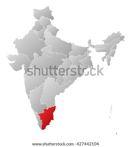 Map - India, Tamil Nadu - stock photo
