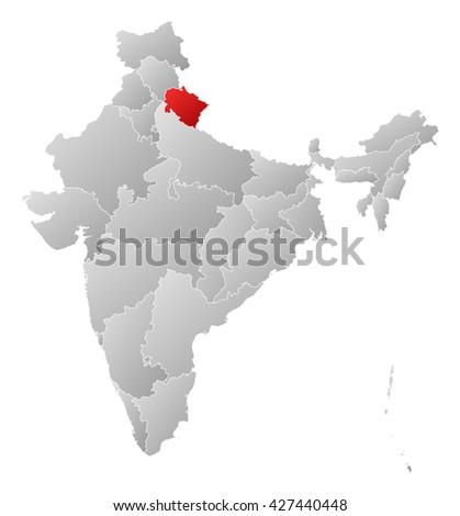 Map - India, Uttarakhand - stock photo