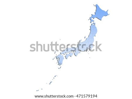 map-japan country on white background.