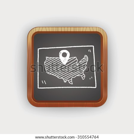 map location doodle - stock photo