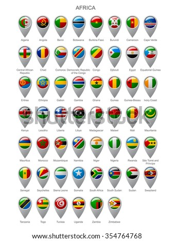 Map marker set with state flags of sovereign countries of Africa with captions in alphabet order isolated on white background - stock photo