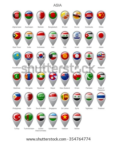 Map marker set with state flags of sovereign countries of Asia with captions in alphabet order isolated on white background - stock photo