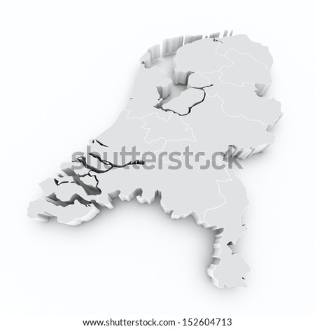 map netherlands with province borders on white isolated