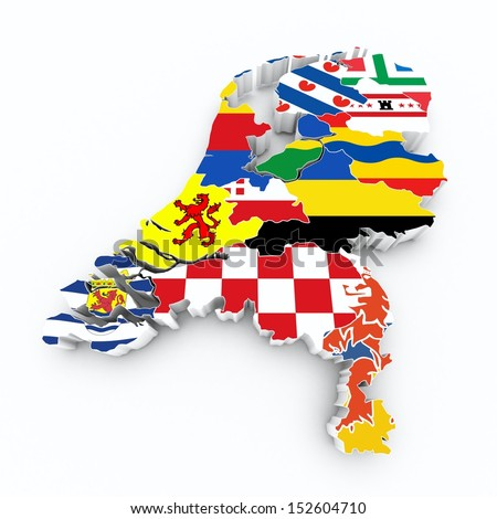 map netherlands with province flags on white isolated  - stock photo