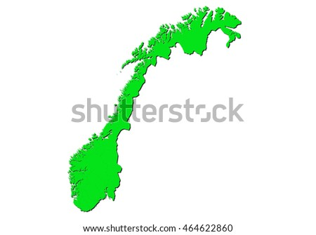 map-norway country on white background.