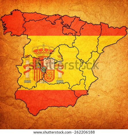 map of administrative divisions of spain with national flag