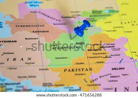 Map of Afghanistan with a blue pushpin stuck