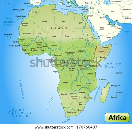 Map of Africa as an overview map in pastel green