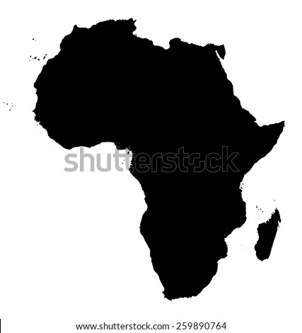 Map of Africa. Black silhouette continent on white background - stock photo