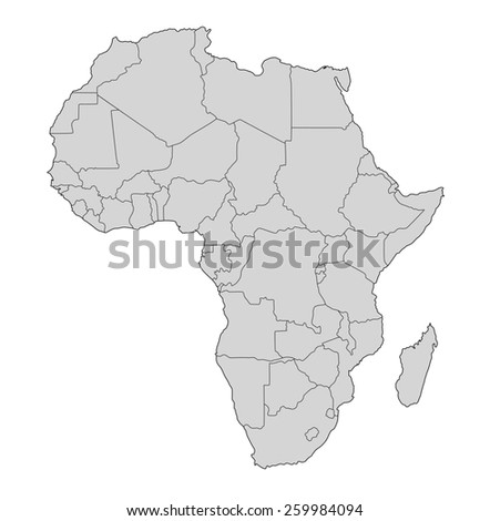 Map of Africa on white background - stock photo