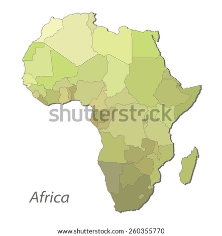 Map of Africa with division the territory. Illustration on white background - stock photo