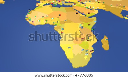 map of african continent each capital city has the national flag waving in the wind