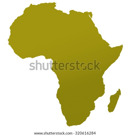 map of african continent in golden shaded tint - stock photo