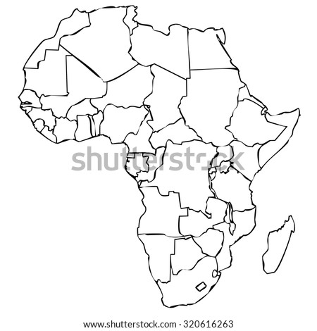 Map Of African Continent With Black Outline On White Background With  Internal Borders