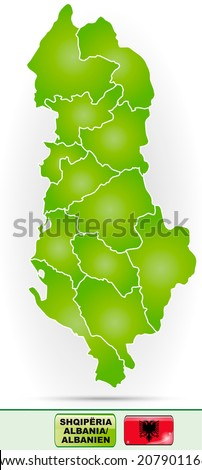 Map of Albania with borders in green