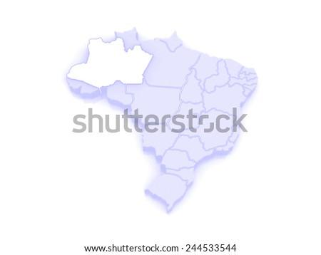 Map of Amazonas. Brazil. 3d - stock photo