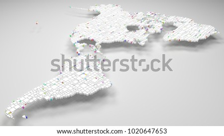 Map of America | 3d Rendering, mosaic of little bricks - White and harlequin colors