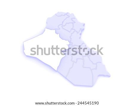 Map of Anbar. Iraq. 3d - stock photo