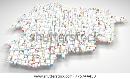 Map of Andorra - Europe | 3d Rendering: mosaic of little bricks - Flag colors