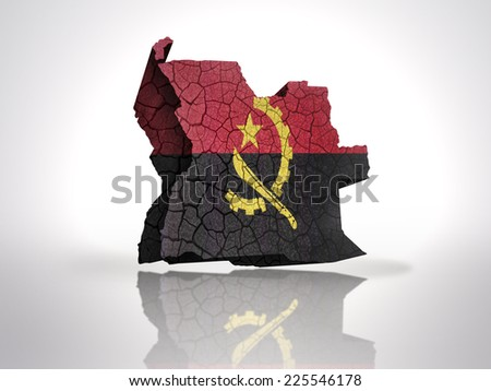 Map of Angola with Angolan Flag on a white background - stock photo