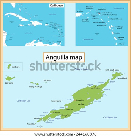 Map Anguilla Drawn High Detail Accuracy Stock Vector - Caribbean anguilla map