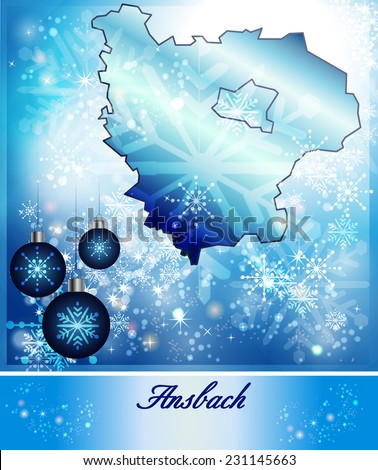 Map of Ansbach in Christmas Design in blue