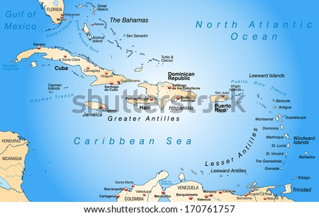 Map of Antilles as an overview map in pastel orange