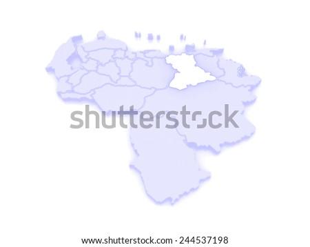 Map of Anzoategui. Venezuela. 3d - stock photo