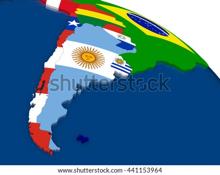 Map of Argentina and Chile with embedded flags on 3D political map. Accurate official colors of flags. 3D illustration - stock photo