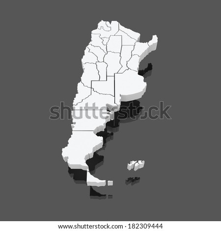 Map of Argentina. 3d - stock photo