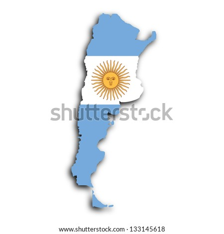 Map of Argentina filled with the national flag - stock photo