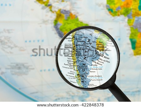 map of Argentine Republic through magnifying glass - stock photo
