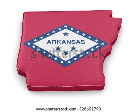 Map of Arkansas state with flag. Image with clipping path. - stock photo
