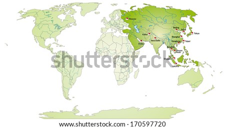 Map of Asia with main cities in green - stock photo