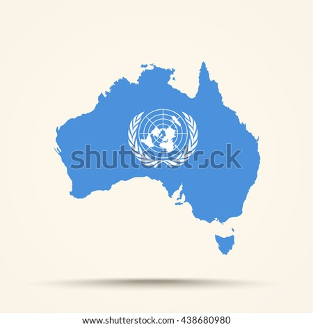 Map of Australia in United Nations flag colors