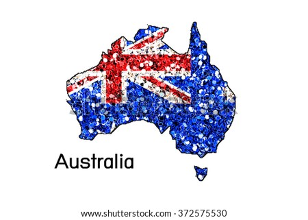 Map of Australia with an official flag. Illustration on white background,Glitter - stock photo