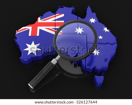Map of Australia with loupe. Image with clipping path. - stock photo