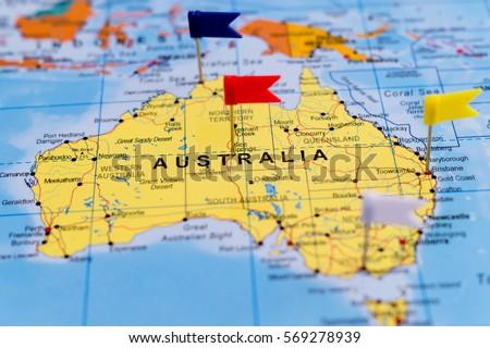 Map australia pushpins on it shallow stock photo royalty free map of australia with pushpins on it shallow focus gumiabroncs Images