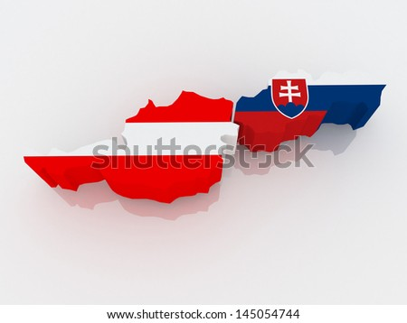 Map of Austria and Slovakia. 3d