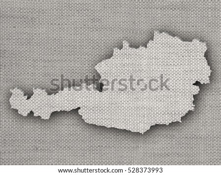 Map of Austria on old linen