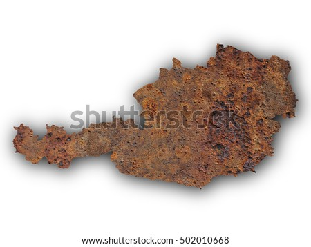 Map of Austria on rusty metal